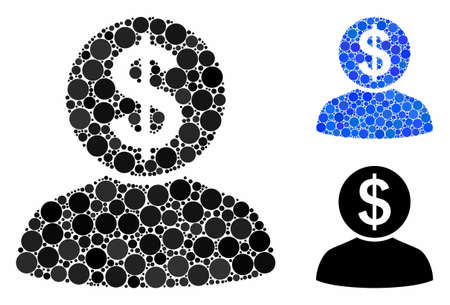 Banker composition of round dots in variable sizes and color tints, based on banker icon. Vector round dots are organized into blue mosaic. Dotted banker icon in usual and blue versions.
