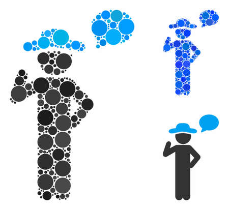 Gentleman speech mosaic of spheric dots in variable sizes and color hues, based on gentleman speech icon. Vector small circles are united into blue mosaic.