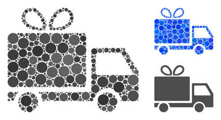 Gift delivery mosaic of small circles in different sizes and color hues, based on gift delivery icon. Vector small circles are organized into blue collage. Illustration
