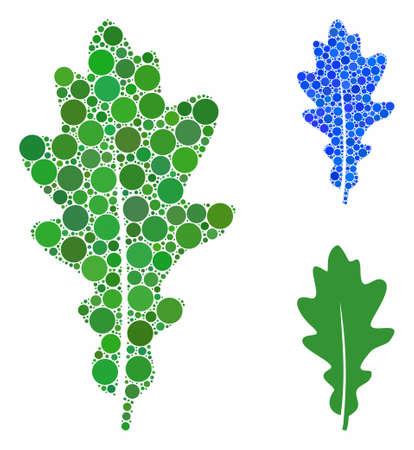 Oak leaf mosaic of small circles in various sizes and color tints, based on oak leaf icon. Vector small circles are grouped into blue collage. Dotted oak leaf icon in usual and blue versions.