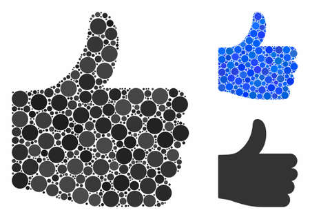 Thumb up mosaic of circle elements in different sizes and color tinges, based on thumb up icon. Vector round elements are united into blue mosaic. Dotted thumb up icon in usual and blue versions. Foto de archivo - 131276607