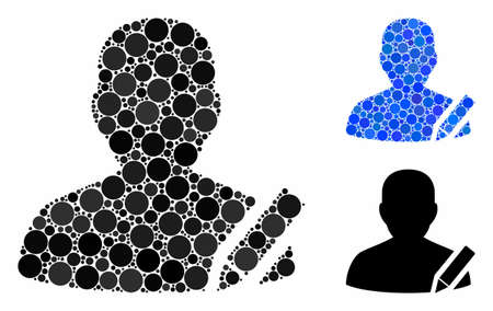 Edit user composition of spheric dots in various sizes and color tones, based on edit user icon. Vector dots are organized into blue composition. Dotted edit user icon in usual and blue versions. Çizim