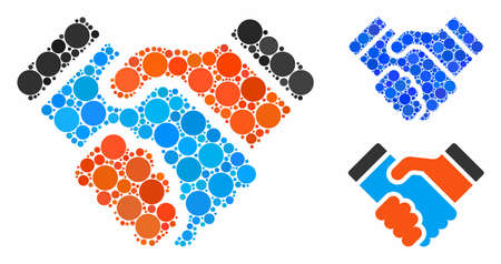Handshake composition of round dots in various sizes and shades, based on handshake icon. Vector dots are combined into blue composition. Dotted handshake icon in usual and blue versions.
