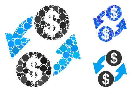 Dollar exchange mosaic of round dots in various sizes and shades, based on dollar exchange icon. Vector round dots are grouped into blue mosaic. Dotted dollar exchange icon in usual and blue versions. Çizim