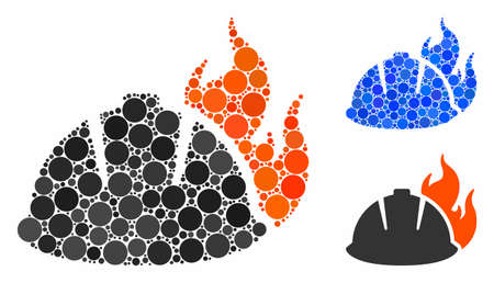 Fire helmet composition of round dots in various sizes and color tints, based on fire helmet icon. Vector dots are organized into blue composition. Dotted fire helmet icon in usual and blue versions.