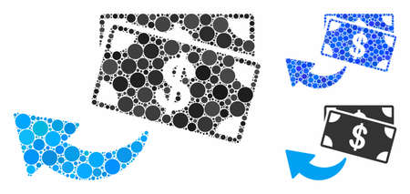 Cashback composition of round dots in variable sizes and color tints, based on cashback icon. Vector round elements are organized into blue composition. Ilustração