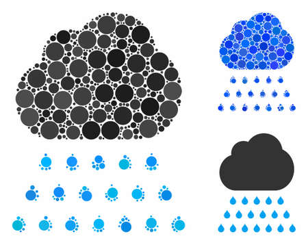 Rain cloud mosaic of round dots in different sizes and color tones, based on rain cloud icon. Vector round dots are united into blue mosaic. Dotted rain cloud icon in usual and blue versions.