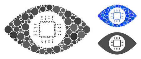 Eye lens processor mosaic of circle elements in different sizes and color hues, based on eye lens processor icon. Vector circle elements are united into blue collage.