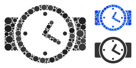 Watches mosaic of spheric dots in variable sizes and color hues, based on watches icon. Vector round dots are organized into blue mosaic. Dotted watches icon in usual and blue versions.