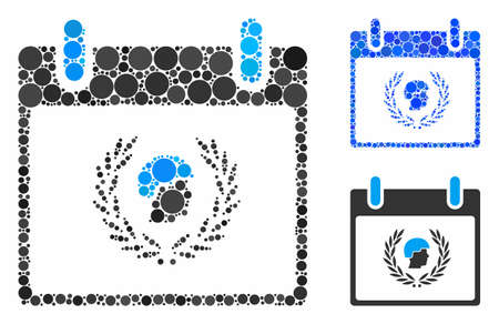 Soldier laurel wreath calendar day mosaic of small circles in variable sizes and color hues, based on soldier laurel wreath calendar day icon. Vector small circles are organized into blue composition.