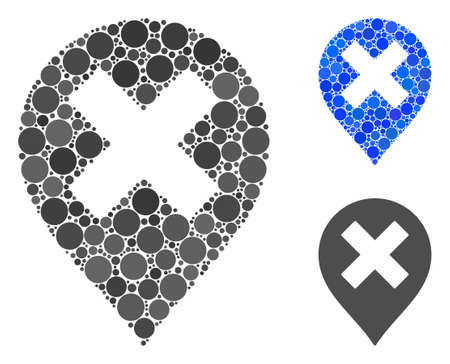 Closed marker composition of filled circles in various sizes and color tints, based on closed marker icon. Vector filled circles are united into blue composition.
