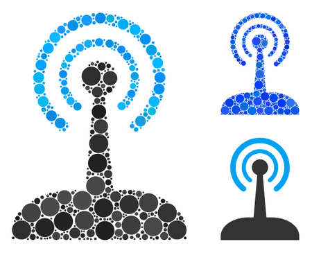 Radio joystick mosaic of round dots in various sizes and shades, based on radio joystick icon. Vector round elements are composed into blue illustration.