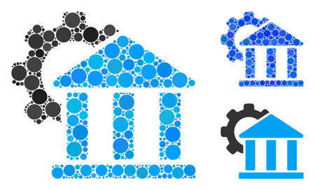 Bank settings mosaic of small circles in different sizes and shades, based on bank settings icon. Vector filled circles are combined into blue mosaic. 일러스트