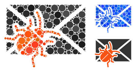 Infected mail mosaic of circle elements in variable sizes and color tints, based on infected mail icon. Vector circle elements are combined into blue mosaic.
