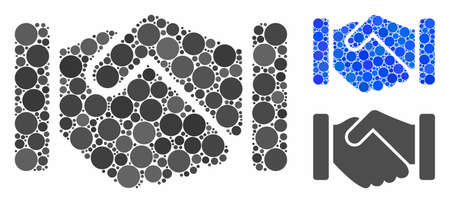 Agreement handshake composition of round dots in various sizes and color tones, based on agreement handshake icon. Vector round dots are united into blue mosaic.
