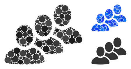 Customer queue composition of spheric dots in variable sizes and shades, based on customer queue icon. Vector dots are united into blue illustration.