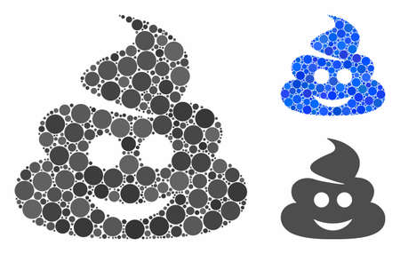 Happy shit mosaic of round dots in variable sizes and color hues, based on happy shit icon. Vector round dots are united into blue mosaic. Dotted happy shit icon in usual and blue versions. Çizim