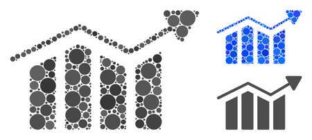 Bar chart trend mosaic of filled circles in various sizes and color tinges, based on bar chart trend icon. Vector filled circles are composed into blue collage. Ilustrace