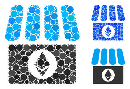 Ethereum shop mosaic of round dots in different sizes and color tones, based on Ethereum shop icon. Vector dots are organized into blue collage. Dotted Ethereum shop icon in usual and blue versions.