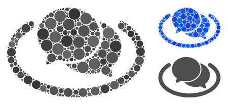 Chat mosaic of filled circles in various sizes and shades, based on chat icon. Vector filled circles are grouped into blue mosaic. Dotted chat icon in usual and blue versions. Фото со стока - 131282311