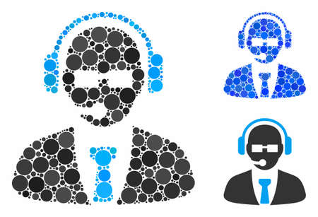 Support manager composition of circle elements in various sizes and color tinges, based on support manager icon. Vector circle elements are organized into blue illustration.