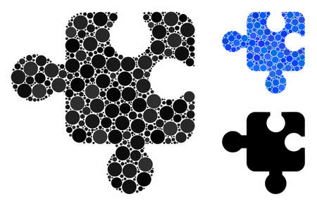 Component mosaic of spheric dots in variable sizes and color tints, based on component icon. Vector dots are organized into blue mosaic. Dotted component icon in usual and blue versions.
