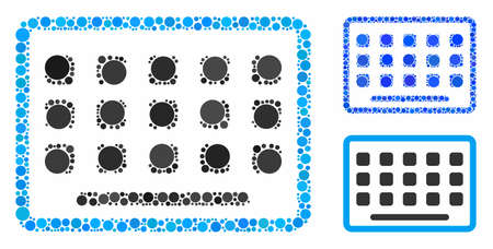 Keyboard mosaic of circle elements in various sizes and shades, based on keyboard icon. Vector circle elements are composed into blue collage. Dotted keyboard icon in usual and blue versions.