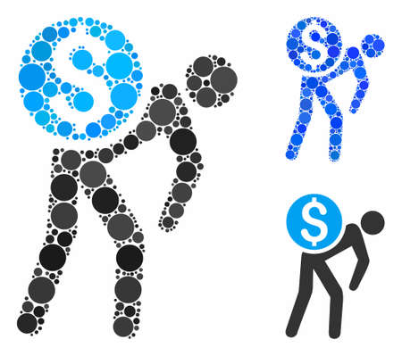 Money courier composition of filled circles in various sizes and color tints, based on money courier icon. Vector filled circles are combined into blue illustration.