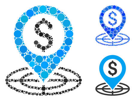 Financial crosshair composition of small circles in variable sizes and color tones, based on financial crosshair icon. Vector small circles are composed into blue collage.