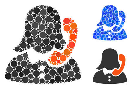 Receptionist mosaic of spheric dots in various sizes and color tones, based on receptionist icon. Vector round dots are grouped into blue mosaic. Dotted receptionist icon in usual and blue versions.