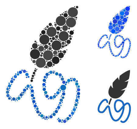 Writing feather composition of small circles in different sizes and color tones, based on writing feather icon. Vector small circles are composed into blue illustration. Фото со стока - 131283261