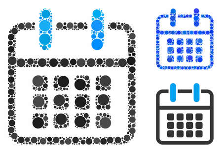 Calendar poster composition of circle elements in variable sizes and color tinges, based on calendar poster icon. Vector circle elements are combined into blue composition. Ilustracja