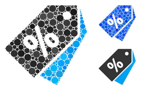 Discount coupons mosaic of round dots in different sizes and color tints, based on discount coupons icon. Vector round dots are united into blue mosaic. Stock Illustratie
