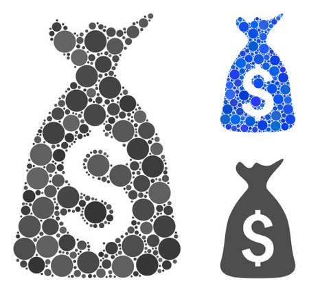Money bag mosaic of filled circles in variable sizes and color tints, based on money bag icon. Vector filled circles are combined into blue composition.