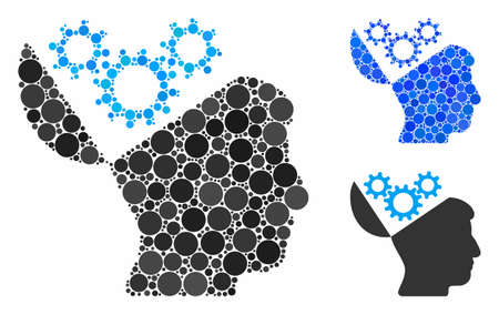 Open mind gears composition of round dots in different sizes and color hues, based on open mind gears icon. Vector round elements are grouped into blue composition. Çizim