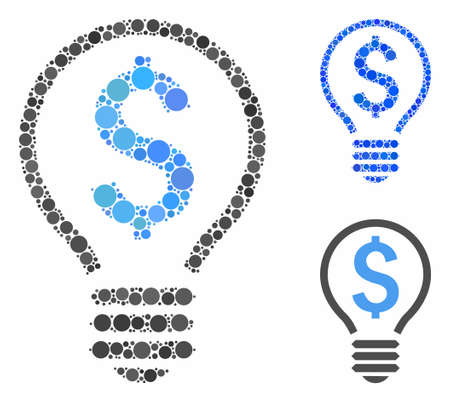 Patent bulb mosaic of round dots in various sizes and color tints, based on patent bulb icon. Vector round elements are organized into blue mosaic. Dotted patent bulb icon in usual and blue versions.