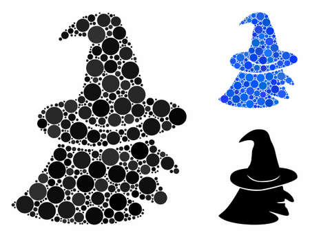 Witch face composition of filled circles in variable sizes and color tints, based on witch face icon. Vector random circles are united into blue composition. Stock Illustratie