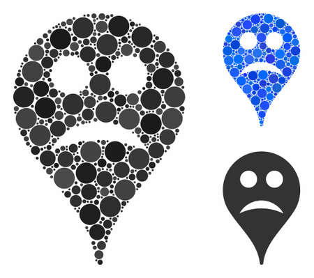 Sad smiley map marker composition of filled circles in various sizes and shades, based on sad smiley map marker icon. Vector filled circles are combined into blue composition. Иллюстрация