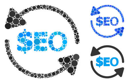 Refresh seo mosaic of circle elements in variable sizes and color hues, based on refresh seo icon. Vector circle elements are organized into blue mosaic.