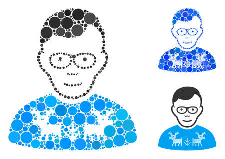 Nerd guy composition of round dots in various sizes and color tinges, based on nerd guy icon. Vector dots are united into blue mosaic. Dotted nerd guy icon in usual and blue versions.