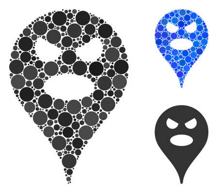 Scream smiley map marker mosaic of small circles in variable sizes and color hues, based on scream smiley map marker icon. Vector small circles are organized into blue collage.