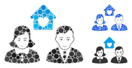 People marriage mosaic of filled circles in different sizes and color tones, based on people marriage icon. Vector random circles are composed into blue mosaic.