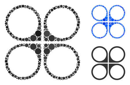 Air copter mosaic of filled circles in various sizes and color hues, based on air copter icon. Vector filled circles are united into blue composition.