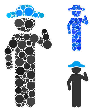 Gentleman opinion composition of round dots in different sizes and color tones, based on gentleman opinion icon. Vector round dots are organized into blue illustration.