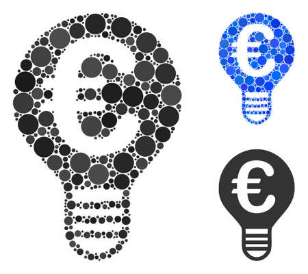 Euro bulb mosaic of small circles in different sizes and color tinges, based on Euro bulb icon. Vector small circles are united into blue composition. Dotted Euro bulb icon in usual and blue versions.