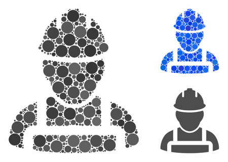 Worker mosaic of small circles in different sizes and shades, based on worker icon. Vector small circles are grouped into blue composition. Dotted worker icon in usual and blue versions.