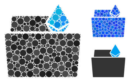 Ethereum crystal folder mosaic of round dots in variable sizes and shades, based on Ethereum crystal folder icon. Vector round dots are combined into blue mosaic.