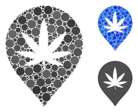 Cannabis marker composition of small circles in variable sizes and color tints, based on cannabis marker icon. Vector small circles are composed into blue mosaic.