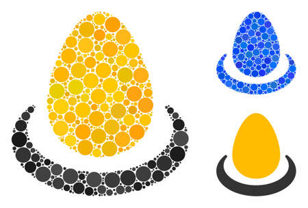 Gold egg deposit mosaic of small circles in variable sizes and color tinges, based on gold egg deposit icon. Vector small circles are united into blue mosaic. Çizim