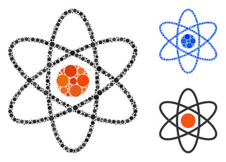 Atom composition of small circles in various sizes and shades, based on atom icon. Vector small circles are combined into blue composition. Dotted atom icon in usual and blue versions.